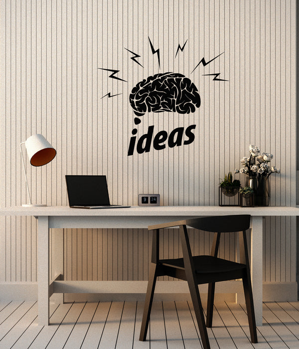 Vinyl Wall Decal Brain Word Logo Creative Idea Home Office Stickers (4048ig)