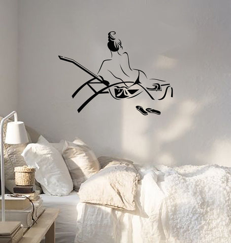 Vinyl Decal Naked Woman Girl Sketch Beach Relax Wall Stickers (ig2613)