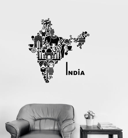 Vinyl Decal India Map Hindu Hinduism Elephant Symbols Decor Wall Stickers (ig2722)