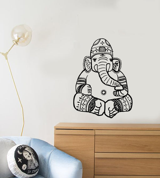 Vinyl Wall Decal Elephant God Hinduism India Head Symbol Animal Stickers 803ig