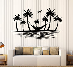 Vinyl Wall Decal Island Palm Tree Birds Hammock Hawaii Beach Style Stickers Unique Gift (1851ig)