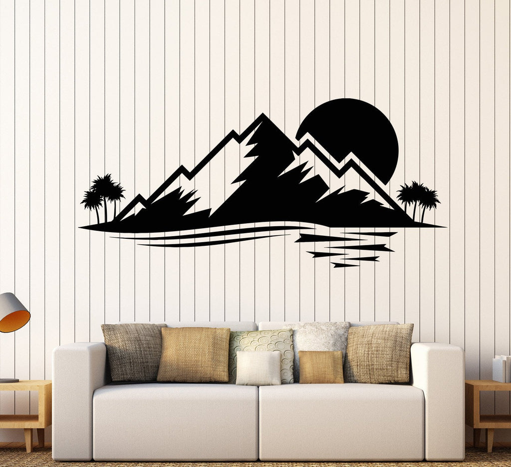 Vinyl wall decal island nature palm tree mountain sunset stickers vinyl wall decal island nature palm tree mountain sunset stickers unique gift 873ig amipublicfo Choice Image