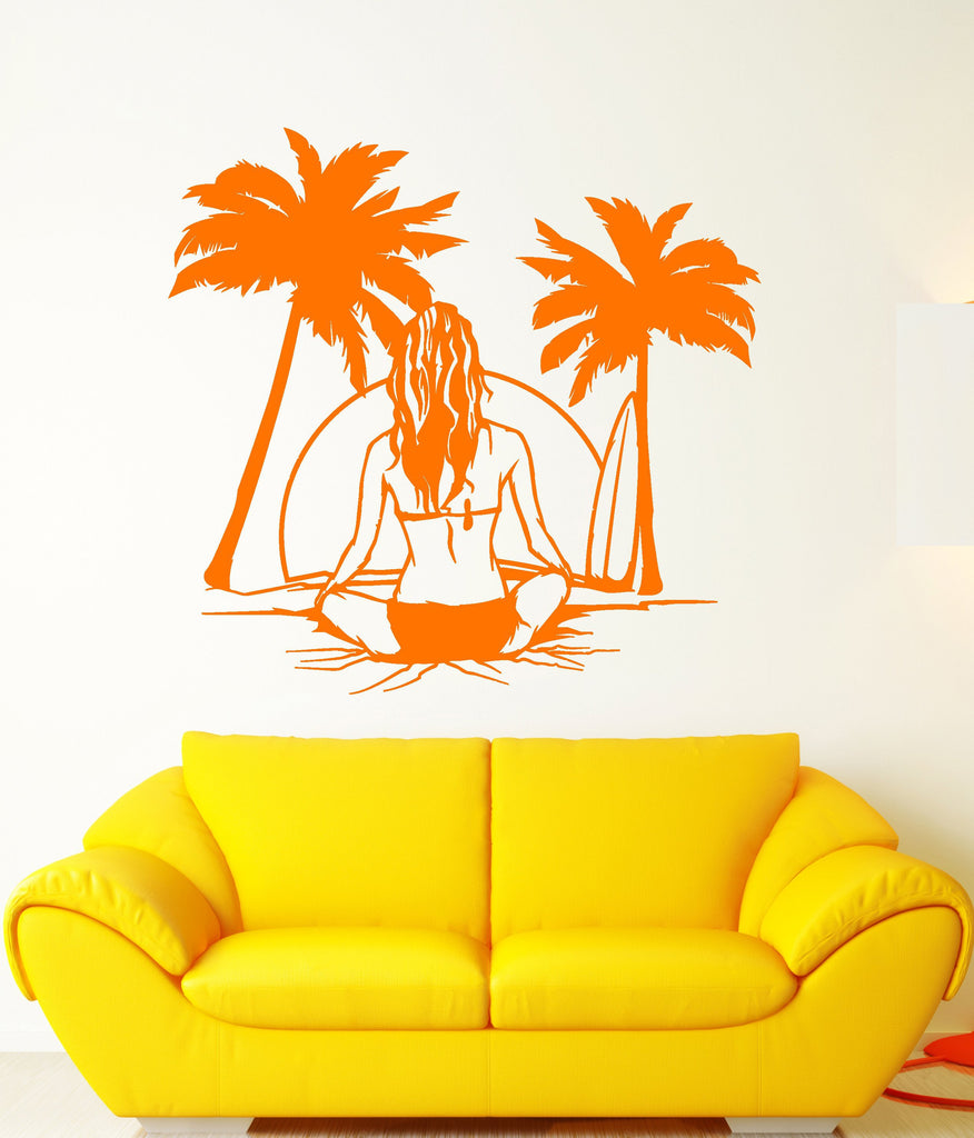 Vinyl Wall Decal Beach Sea Style Surfer Surfing Girl Back Palm Tree ...