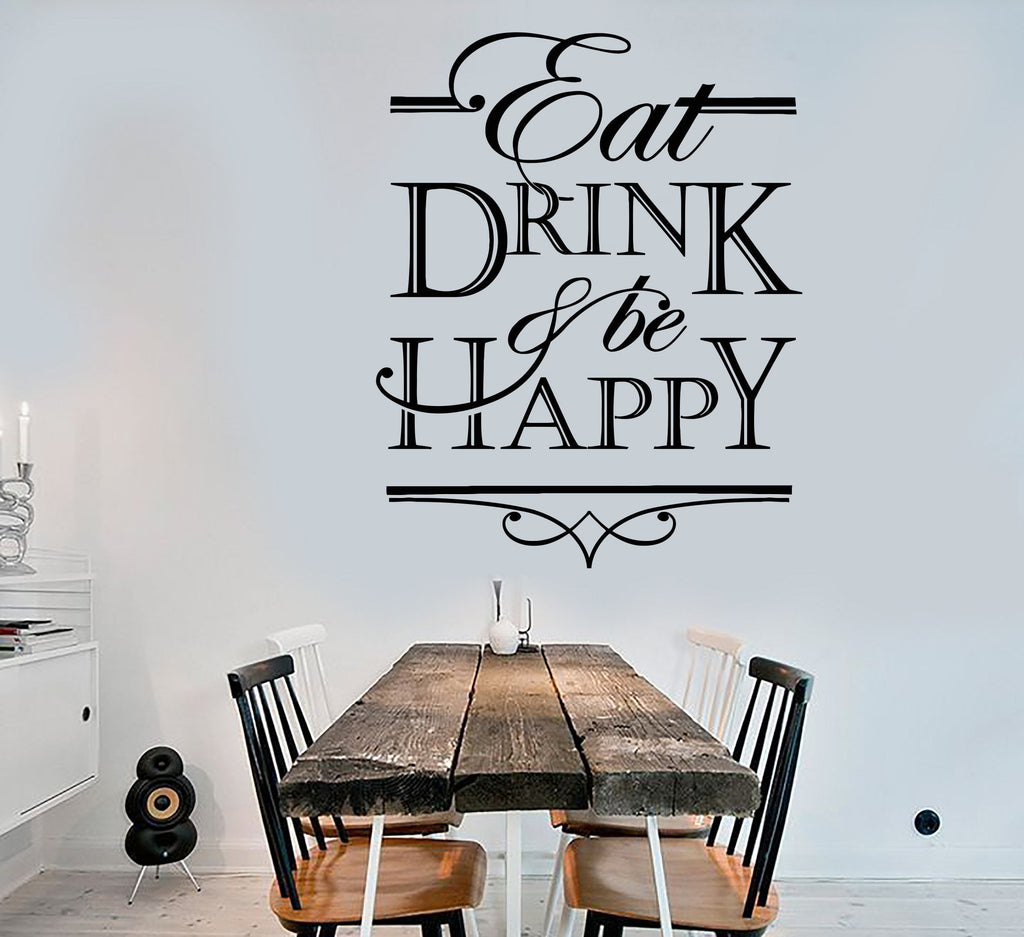 Vinyl Wall Decal Quote Words Eat Drink And Be Happy Kitchen Decor ...