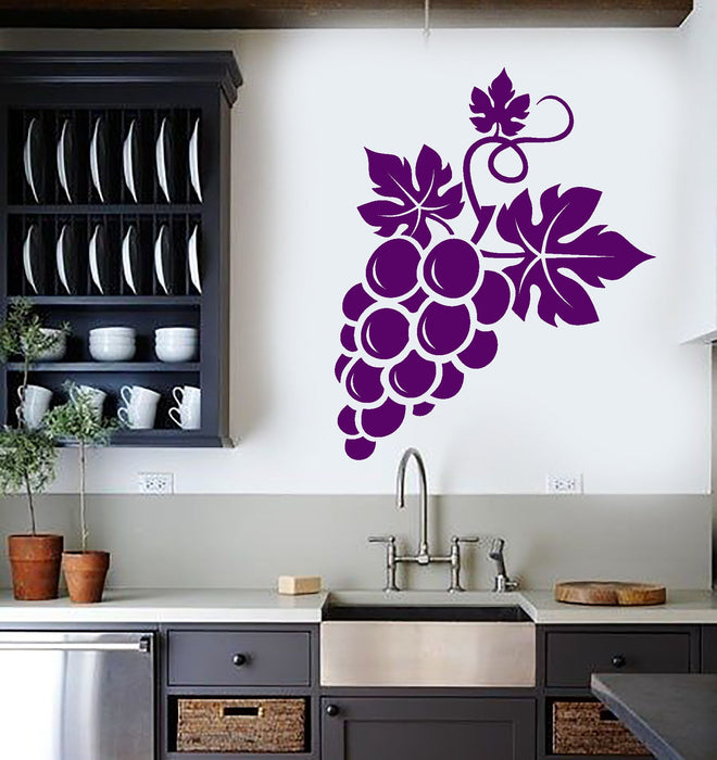Vinyl Wall Decal Bunch Of Grapes Fruit Wine Kitchen Decor Stickers (2674ig)