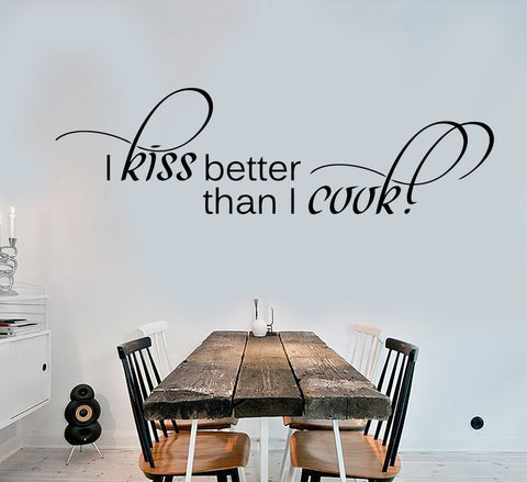 Cool Wall Stickers Vinyl Decal Kitchen Quote Housewife Kiss Better Than I Cook (ig1393)