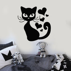 Wall Stickers Vinyl Decal Cat Animal Kitten Pets Love Romantic Heart (ig315)