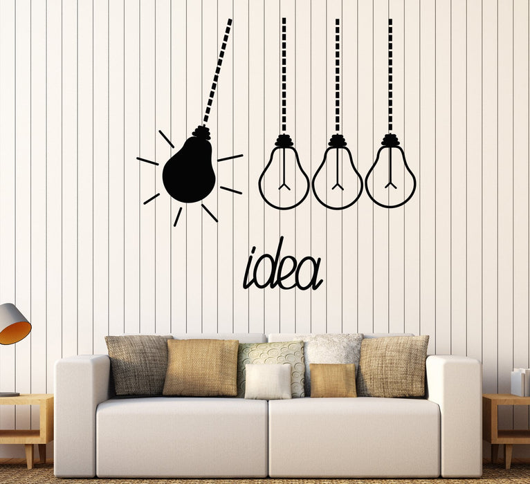 Vinyl Wall Decal Light Bulbs Idea Funny Office Decor Stickers Unique Gift (1592ig)