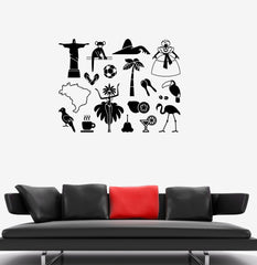 Vinyl Decal Latin America Symbol Brazil Carnival Wall Stickers Mural Unique Gift (ig2668)