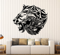Vinyl Wall Decal African Lion Head Abstract Animal Predator Stickers (2177ig)