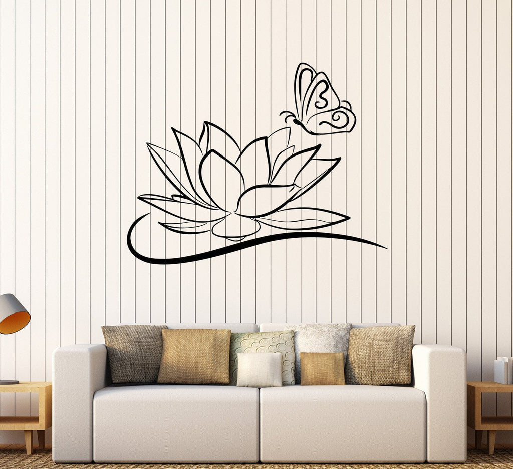 Vinyl Wall Decal Lotus Flower Butterfly Beauty Salon Spa Stickers Unique Gift (256ig)  sc 1 st  Wallstickers4you & Vinyl Wall Decal Lotus Flower Butterfly Beauty Salon Spa Stickers ...