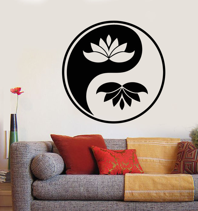 Vinyl Wall Decal Yin Yang Buddhism Symbol Lotus Flower Stickers