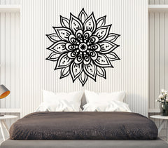 Vinyl Wall Decal Abstract Lotus Flower Yoga Meditation Stickers (2383ig)