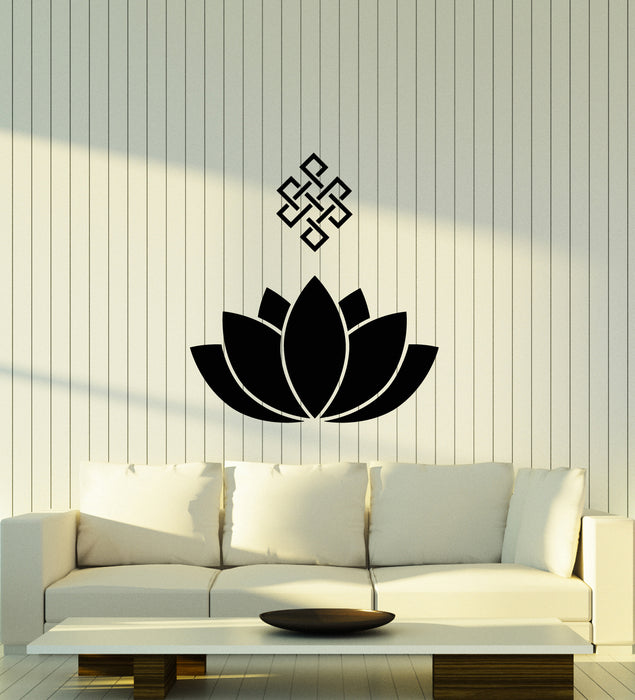 Vinyl Wall Decal Lotus Flower Ornament Buddhism Meditation Room Stickers (3693ig)