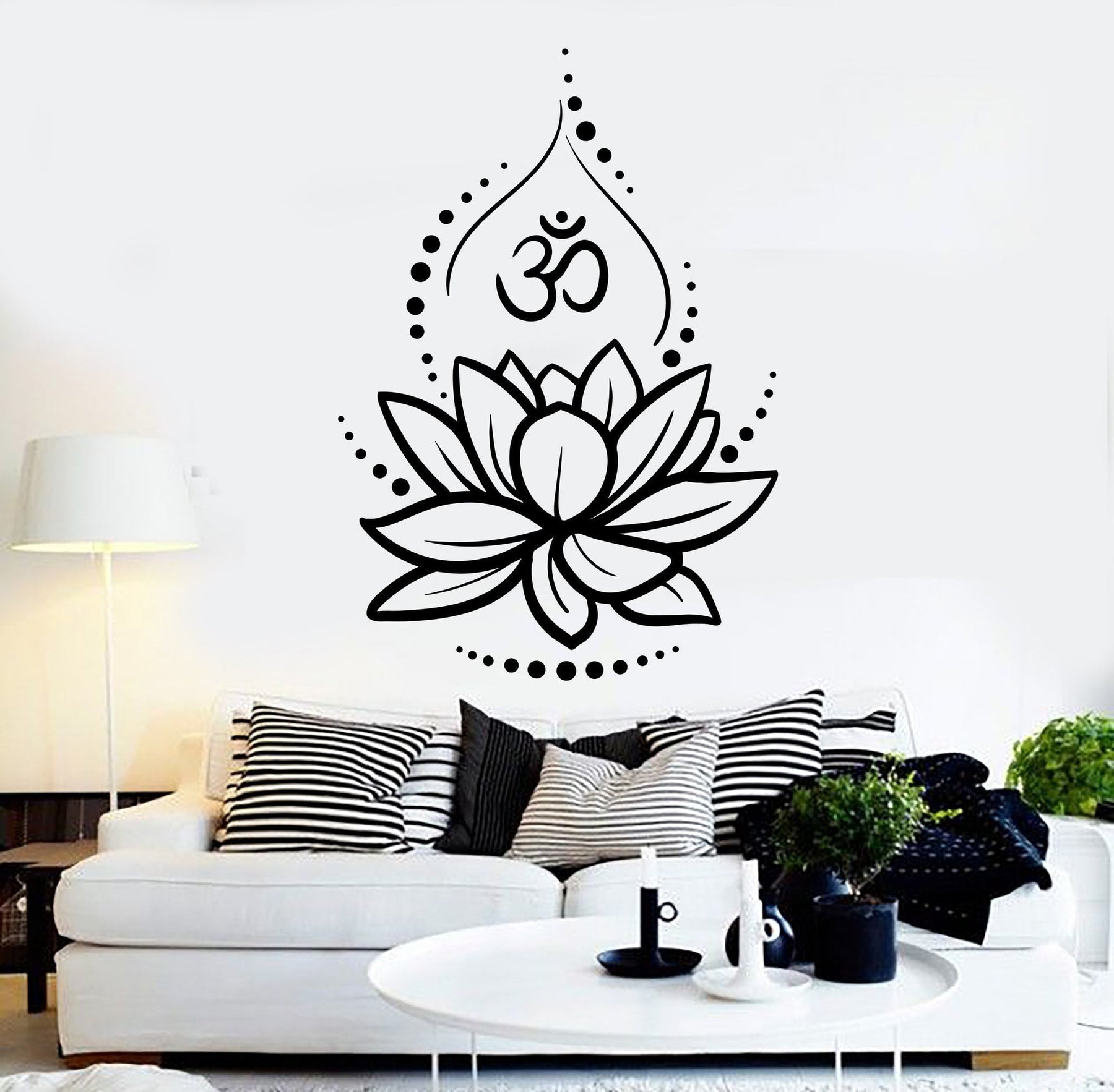 Vinyl wall decal lotus flower yoga hinduism hindu om symbol stickers unique gift ig4625