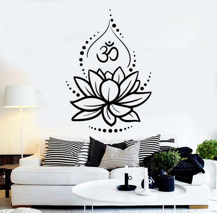 Vinyl Wall Decal Lotus Flower Yoga Hinduism Hindu Om Symbol Stickers