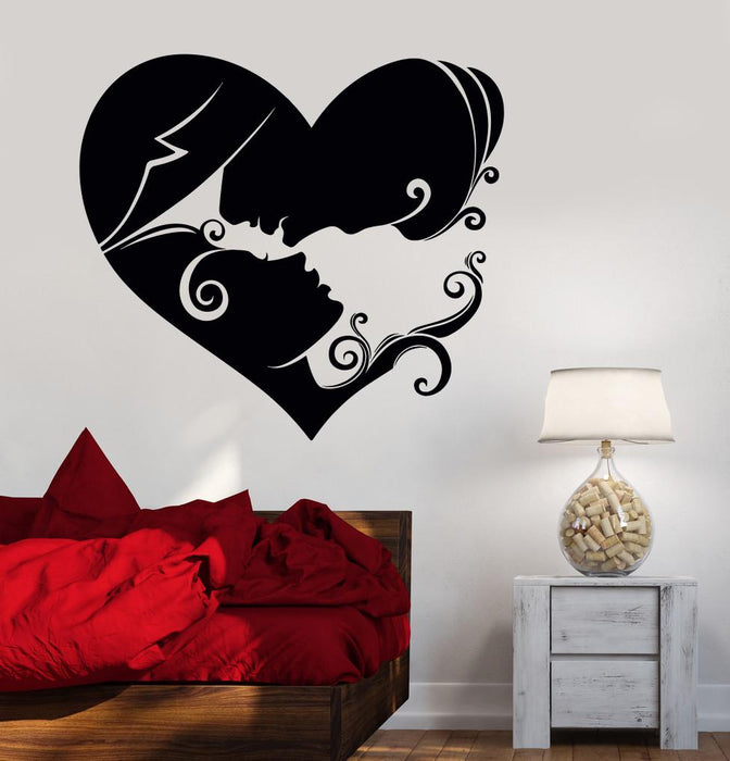 Vinyl Wall Decal Heart Loving Couple Bedroom Art Love Stickers Unique Wallstickers4you