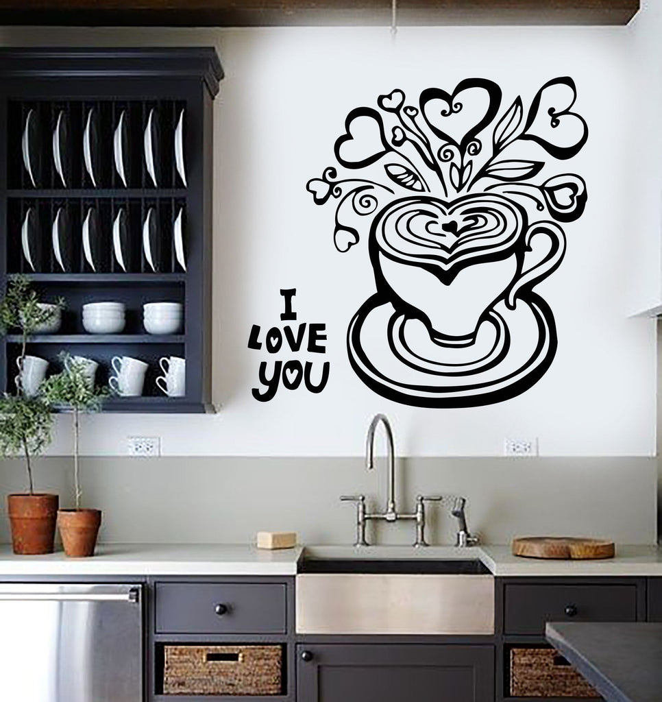 Vinyl Wall Decal Coffee Shop Cup Tea Kitchen Decor Romantic Stickers (353ig)