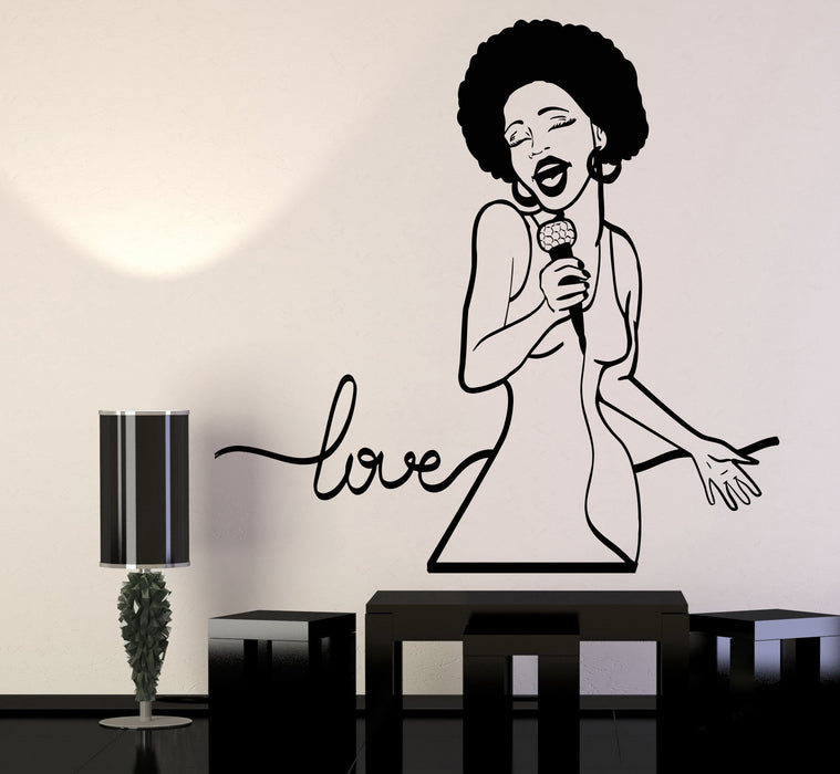 Vinyl Wall Decal African Woman Singer Love Song Black Lady Stickers Unique Gift (1294ig)
