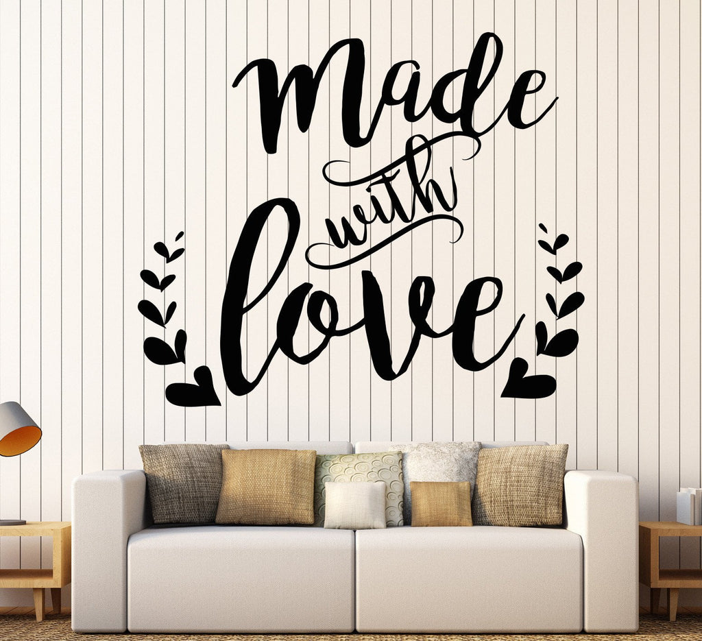 Vinyl Wall Decal Words Made With Love Nursery Quote Romance Stickers Unique Gift (1115ig)  sc 1 st  Wallstickers4you & Vinyl Wall Decal Words Made With Love Nursery Quote Romance Stickers ...