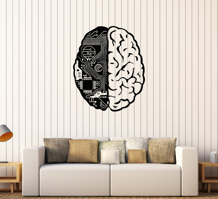 Vinyl Wall Decal Brain Chip Engineer Geek Computer Artificial Intelligence Stickers Unique Gift (374ig)