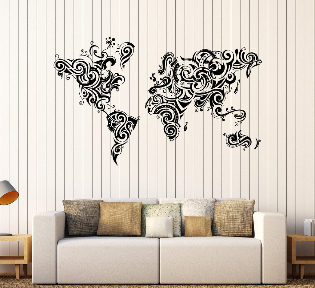 Vinyl wall decal abstract world map room decoration stickers unique vinyl wall decal abstract world map room decoration stickers unique gift 1468ig gumiabroncs Gallery