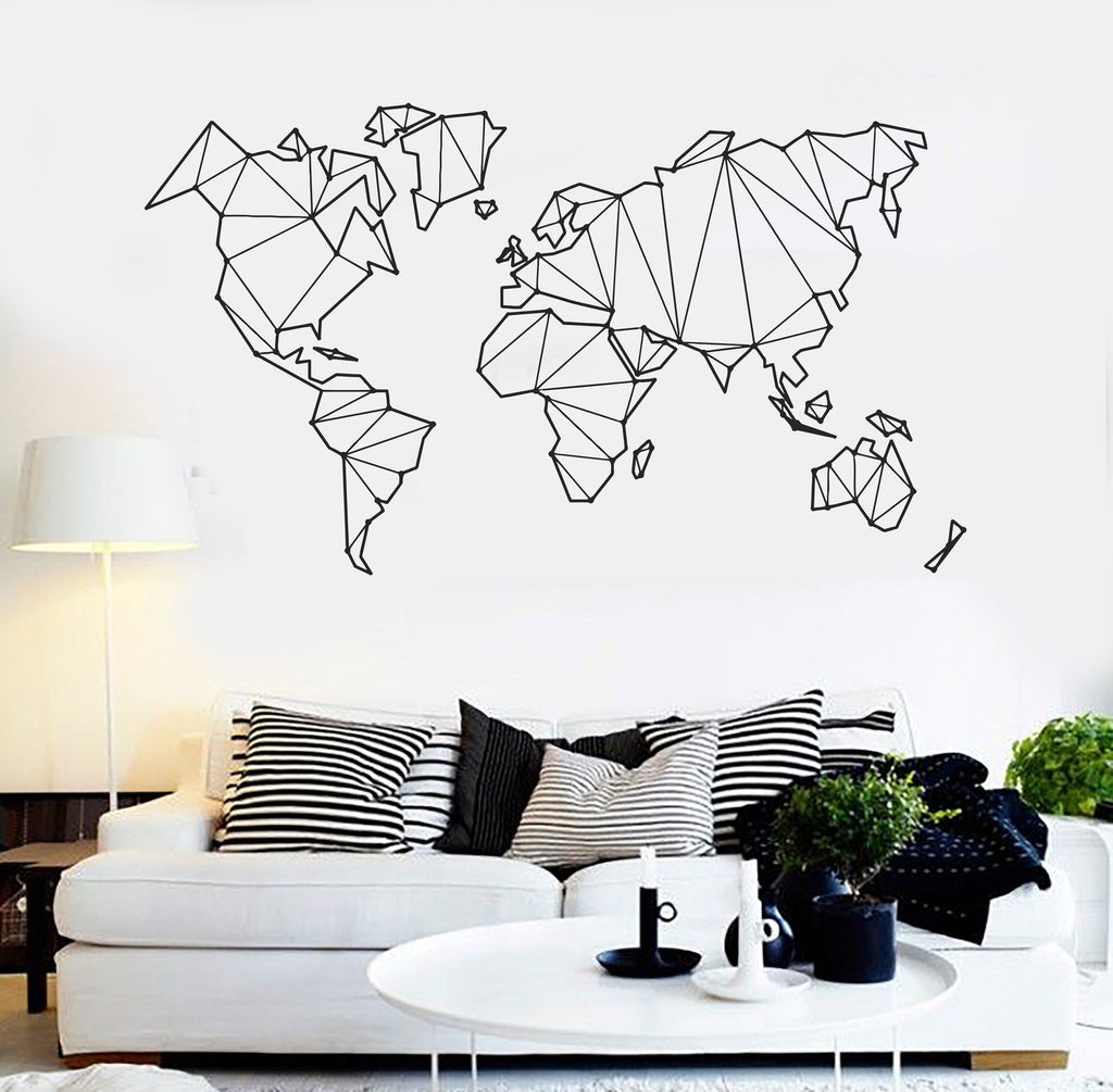Vinyl Wall Decal Abstract Map World Geography Earth Stickers (838ig) Part 52