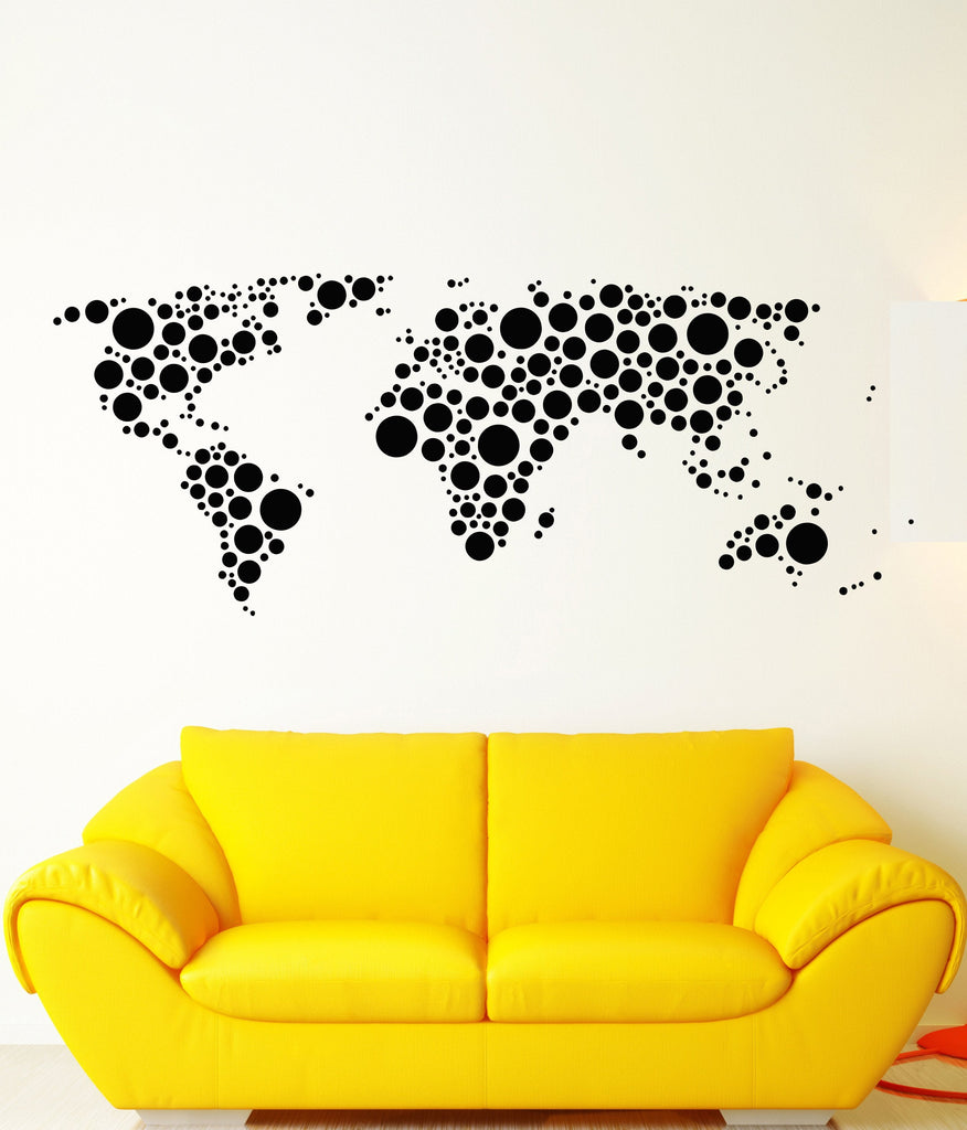 Vinyl Wall Decal Earth World Map Funny Art Decor Bubble Circles ...