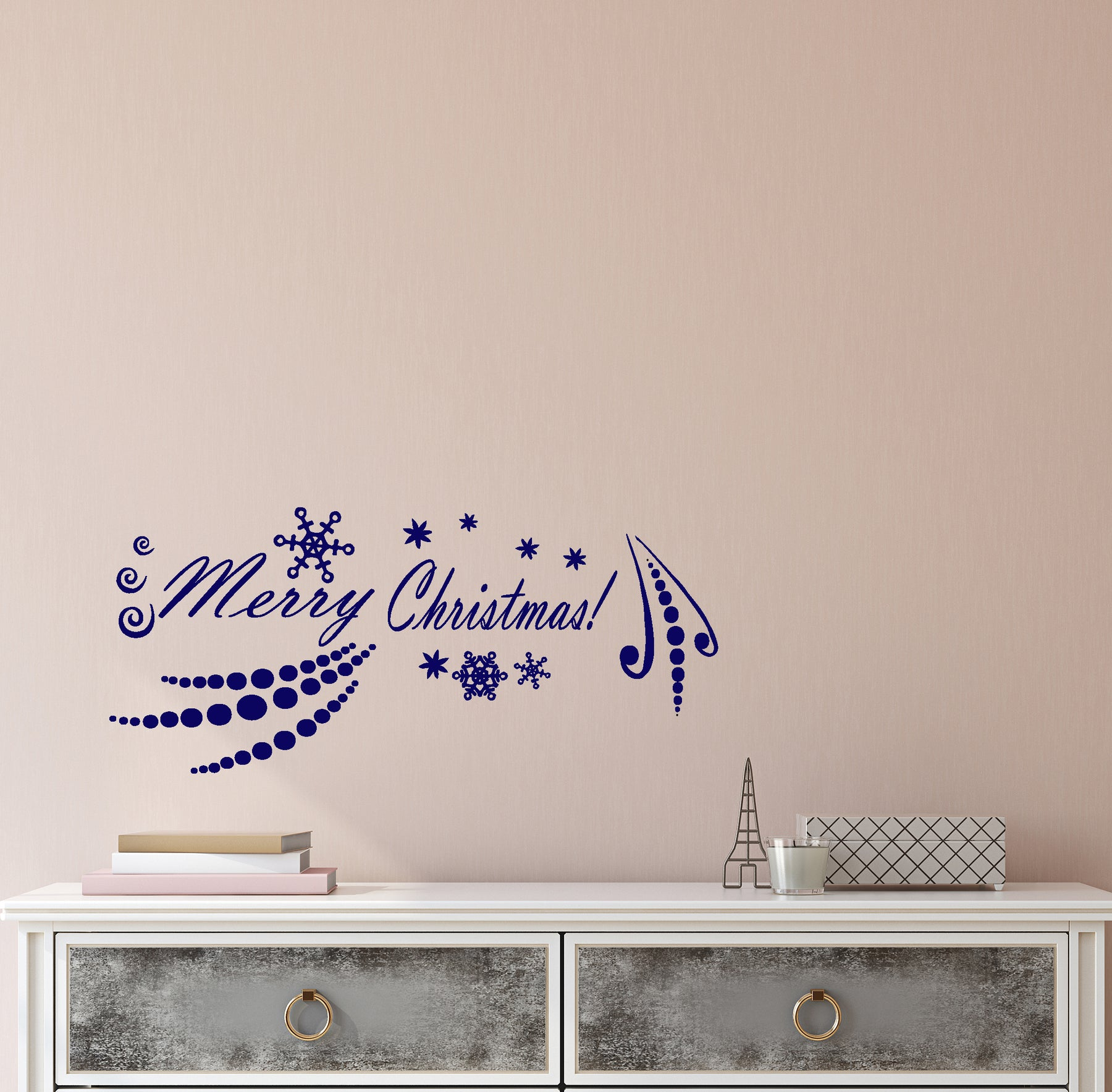 Vinyl Wall Decal Stickers Motivation Merry Christmas New Year Snowflakes Quote Words Inspiring Letters 4165ig (22.5 in x 10 in)