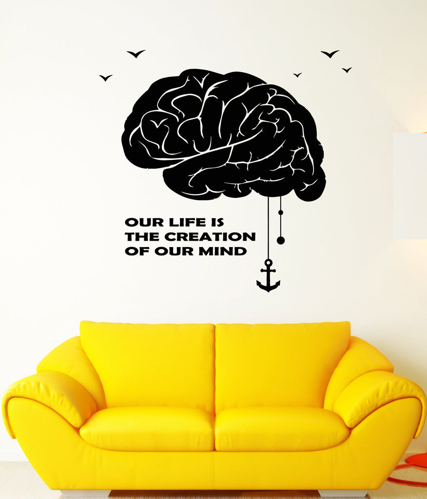 Vinyl Wall Decal Brain Mind Creative Quote Words Anchor Stickers ...