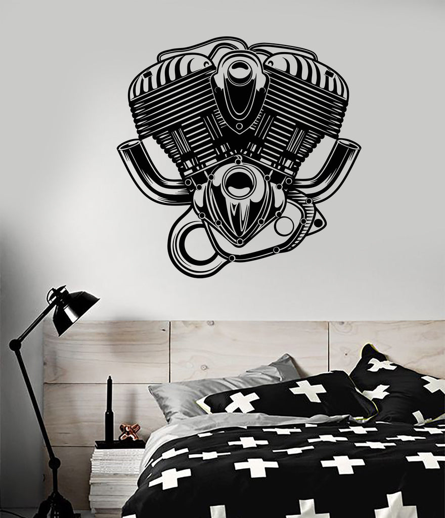 Vinyl Wall Decal Motorcycle Engine Speed Car Service Stickers