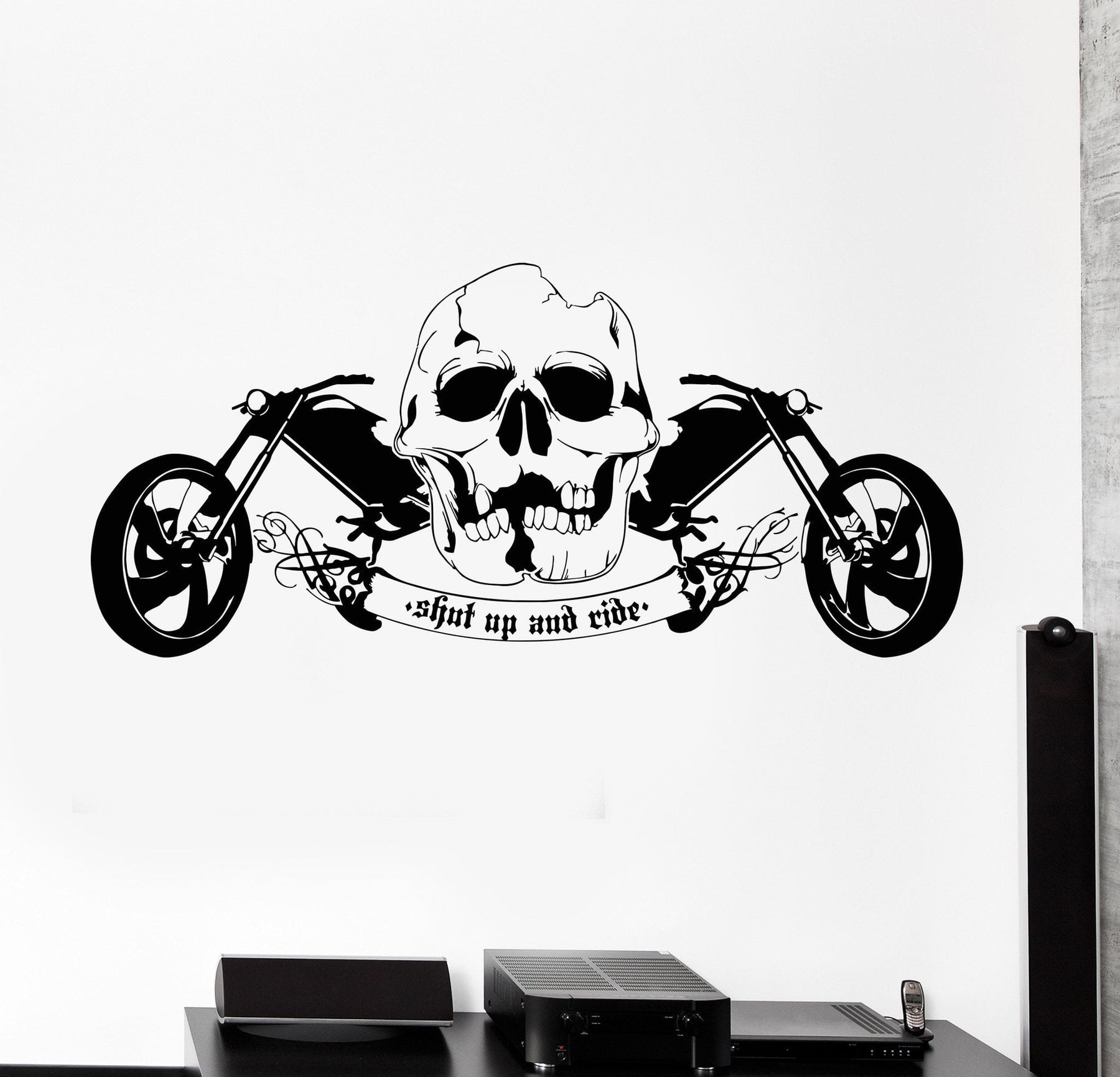 Vinyl wall decal cool skull motorcycle speed biker driver garage cruiser sticker unique gift 658ig