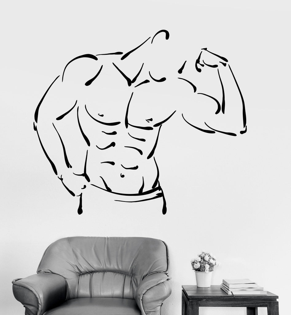 Vinyl Wall Decal Athletic Body Fitness Bodybuilder Muscled Stickers Unique Gift (ig3477)
