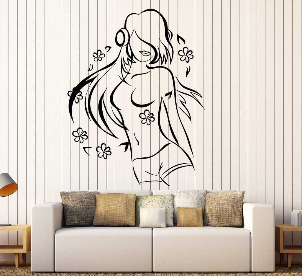Vinyl Wall Decal Teen Girl Music Lover Headphones Dancing Flowers Stickers  Unique Gift (1174ig)