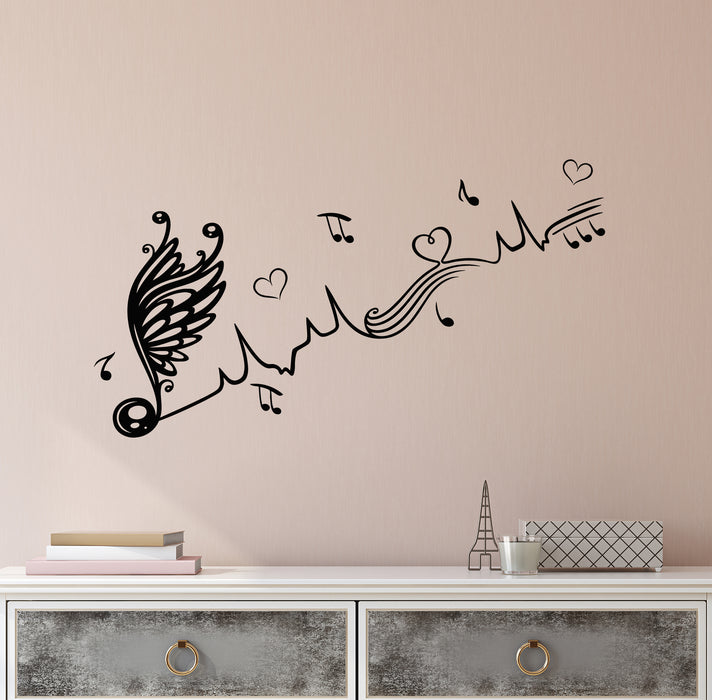 Vinyl Wall Decal Music Sheet With Wings Love Hearts Ornament Stickers (3933ig)