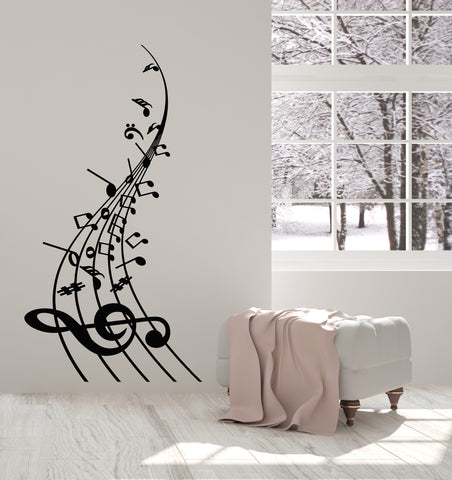 Vinyl Wall Decal Musical Notes Melody Music Store School Stickers (3266ig)