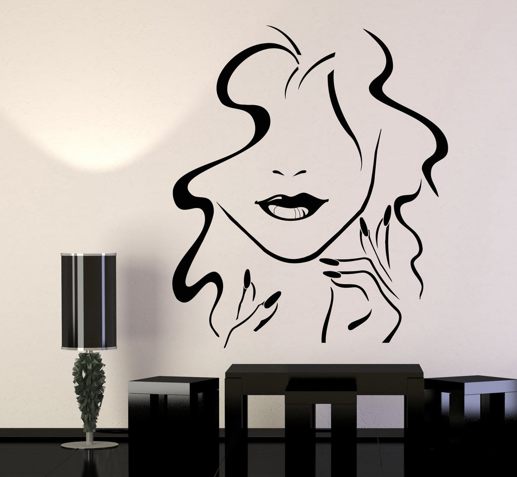 Vinyl Wall Decal Beauty Hair Salon Girl Lips Nails Makeup Stickers ...