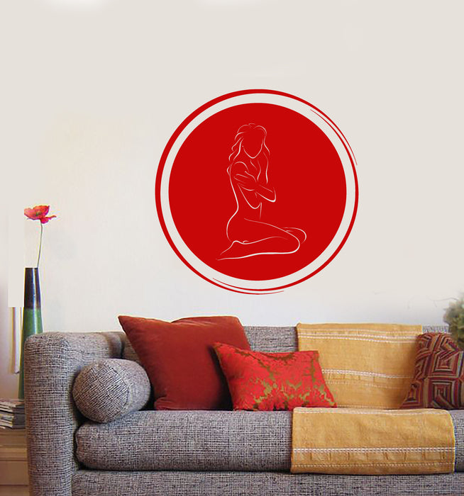 Vinyl Wall Decal Circle Enso Naked Girl Sexy Body SPA Massage Stickers (3702ig)