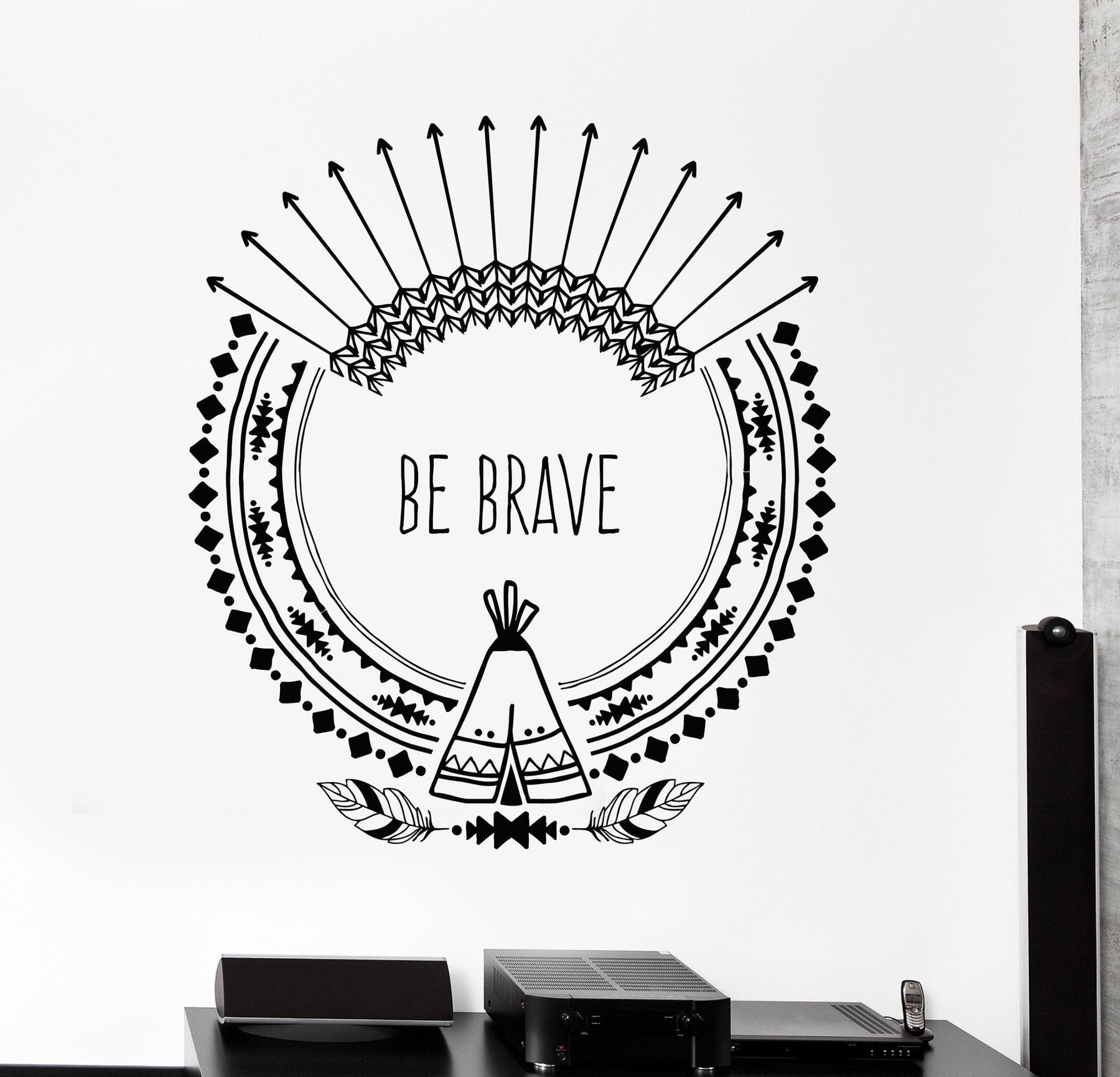 Vinyl Wall Decal Inspire Quote Arrows Ethnic Art Feathers Stickers Uni Wallstickers4you