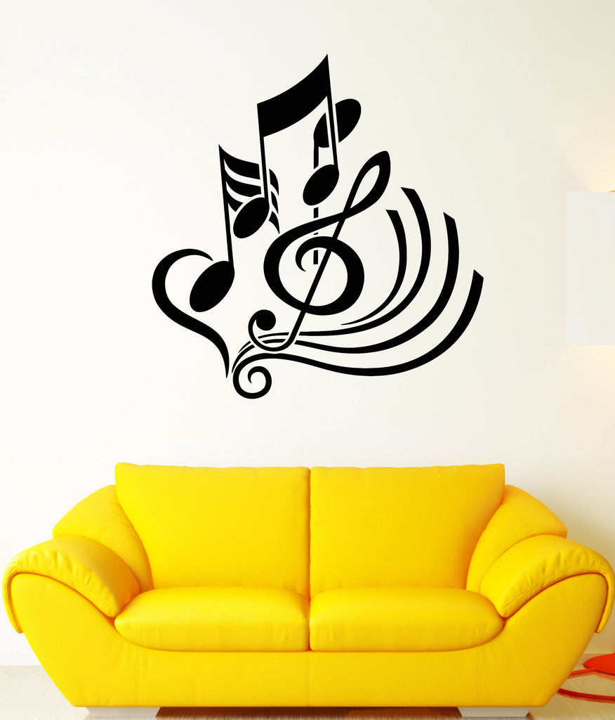 Vinyl Wall Decal Clef Music School Shop Decor Musical Notes Stickers ...