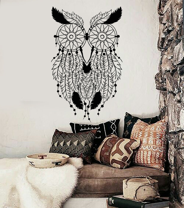 Vinyl Wall Decal Owl Feathers Dream Catcher Bedroom Decor Stickers Uni Wallstickers4you
