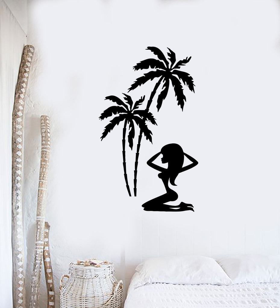 Wall Sticker Vinyl Decal Hot Sexy Girl Relax Tropical Palm Beach - Wall decals relax