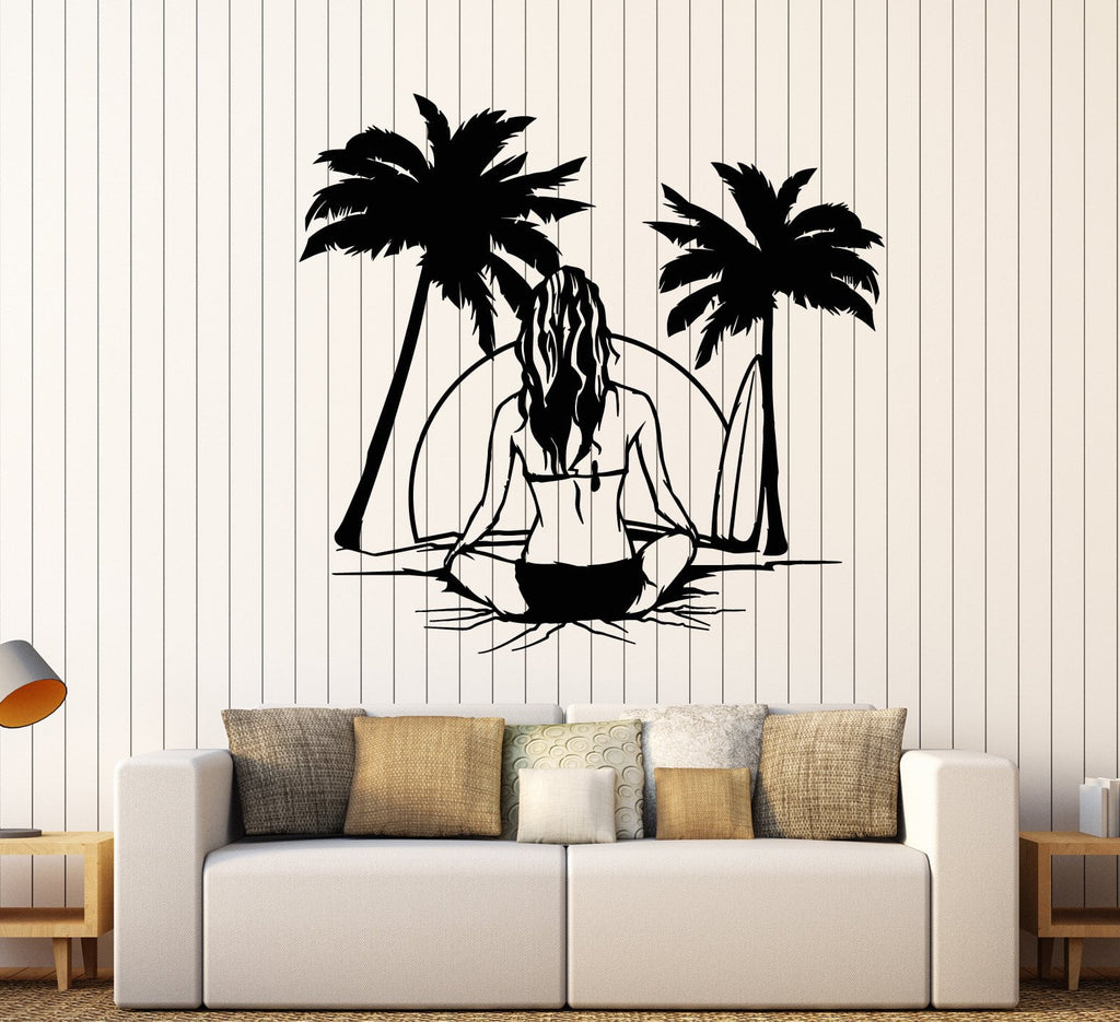 Vinyl Wall Decal Beach Sea Style Surfer Surfing Girl Back Palm Tree Stickers Unique Gift (  sc 1 st  Wallstickers4you & Vinyl Wall Decal Beach Sea Style Surfer Surfing Girl Back Palm Tree ...