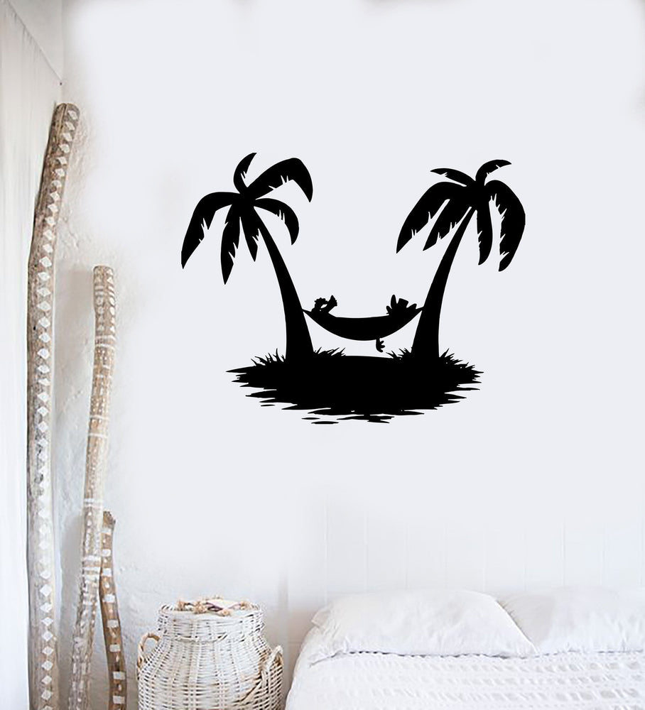 Wall Decal Beach Sand Sea Palms Resort Vacations Hammock Vinyl Stickers Unique Gift (ed199)
