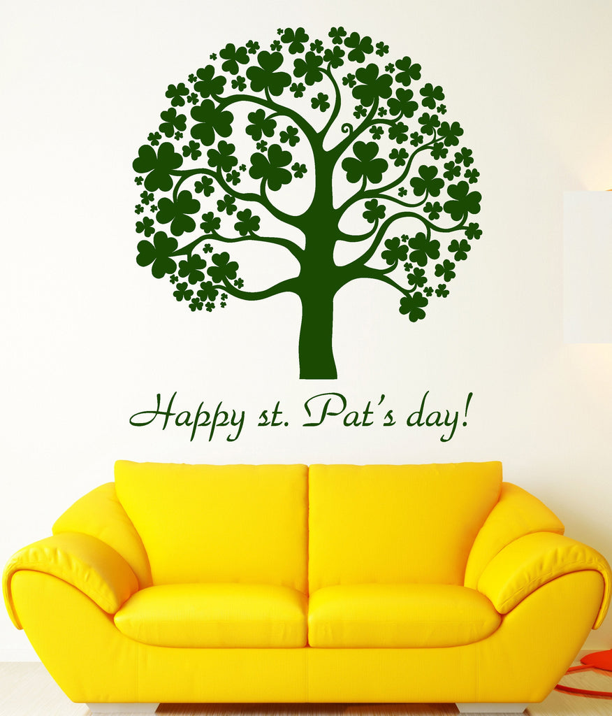 Vinyl Wall Decal Saint Patrick \'s Day Clover Trefoil Tree Ireland ...
