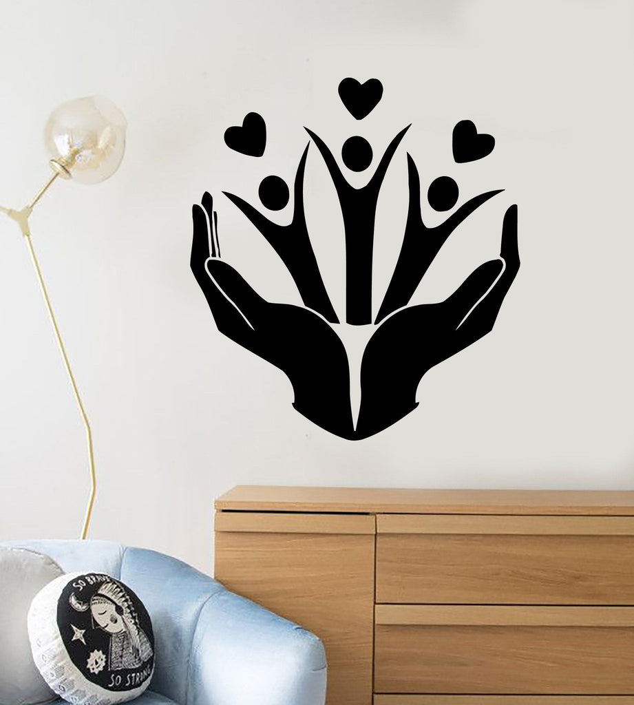 Wall Stickers Vinyl Decal Family Kids Love Hands Peace Decor Unique