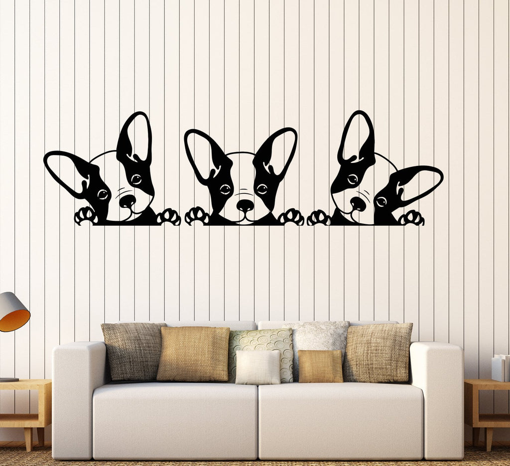 Vinyl Wall Decal Puppies Pets French Bulldog Animals Stickers Unique