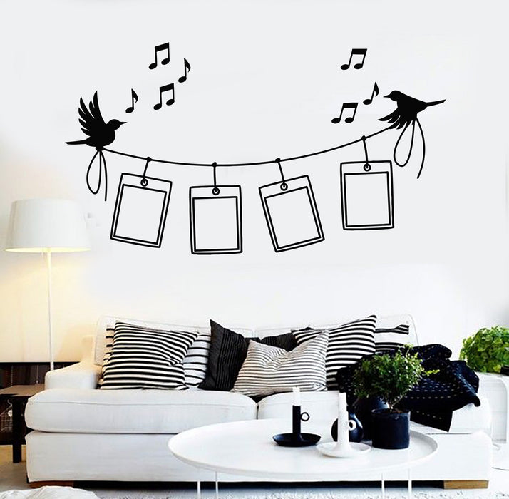 Vinyl Wall Decal Photo Frames Birds Music Home Decor Stickers Unique
