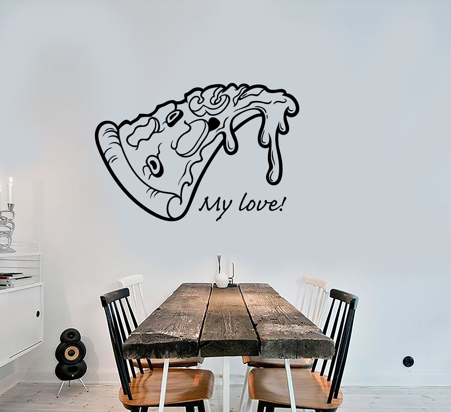 Vinyl Wall Decal Pizza Slice Funny Kitchen Decor Quote Words Stickers 3368ig
