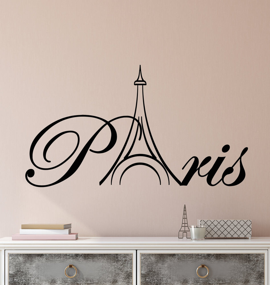 Vinyl Wall Decal Word Paris Eiffel Tower France Stickers 2708ig Wallstickers4you